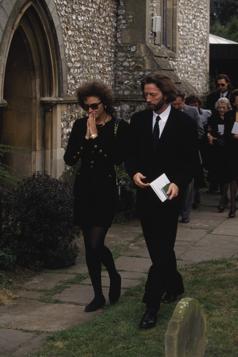 Lory del Santo and Eric Clapton attend the funeral of their son, Conor, in Ripley, United Kingdom