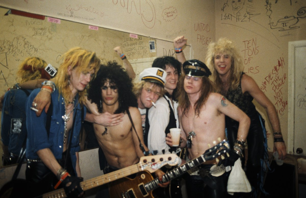 Guns n' Roses pose for a portrait backstage at Fender's Ballroom in Long Beach, California on March 21, 1986