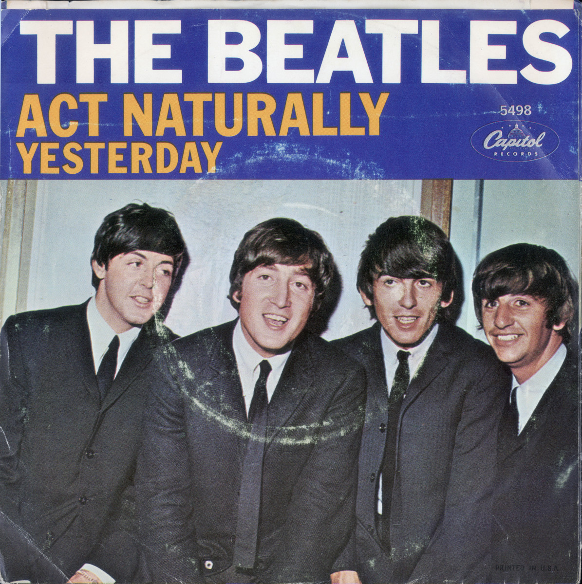 "The 45 rpm cover of The Beatles singles ""Act Naturally"" and ""Yesterday"""