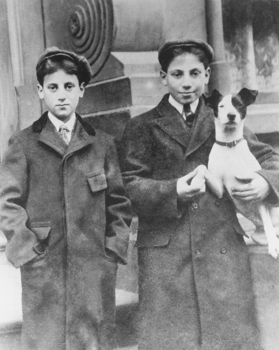 Groucho (Left) and Harpo Marx in New York City when they were 12 and 14 respectively