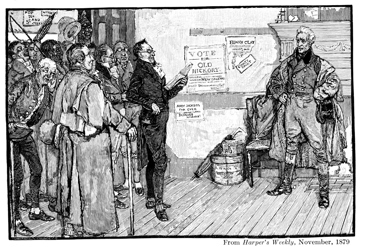 Andrew Jackson receiving a complimentary address from admirers during his journey to Washington. From 'Harper's Weekly', 1879.
