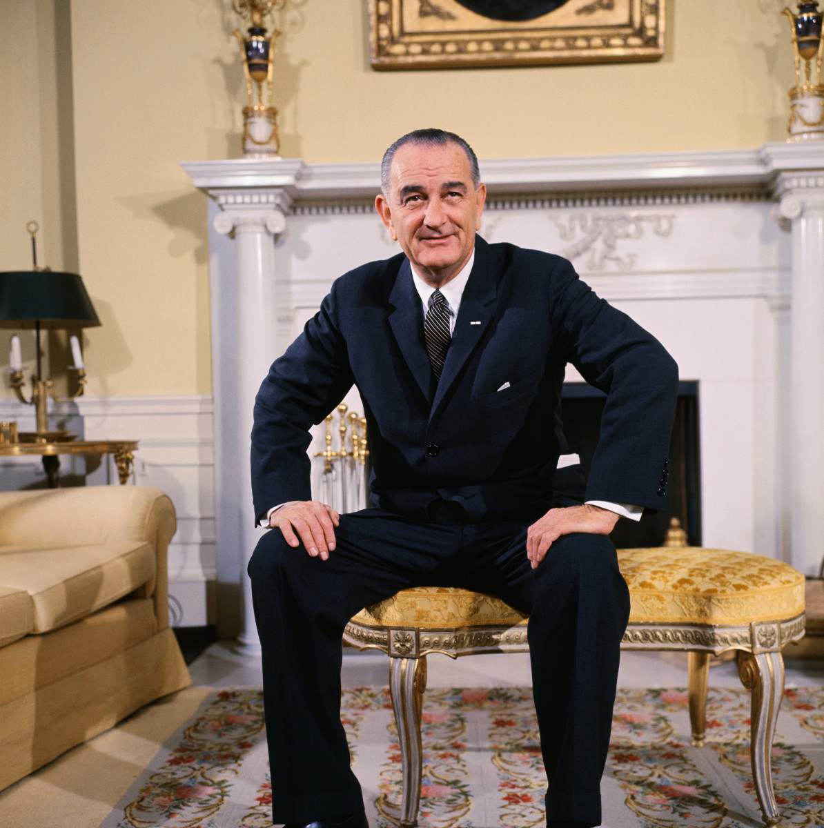 Lyndon B. Johnson in the Oval Sitting Room of the family quarters of the White House in Washington, DC.