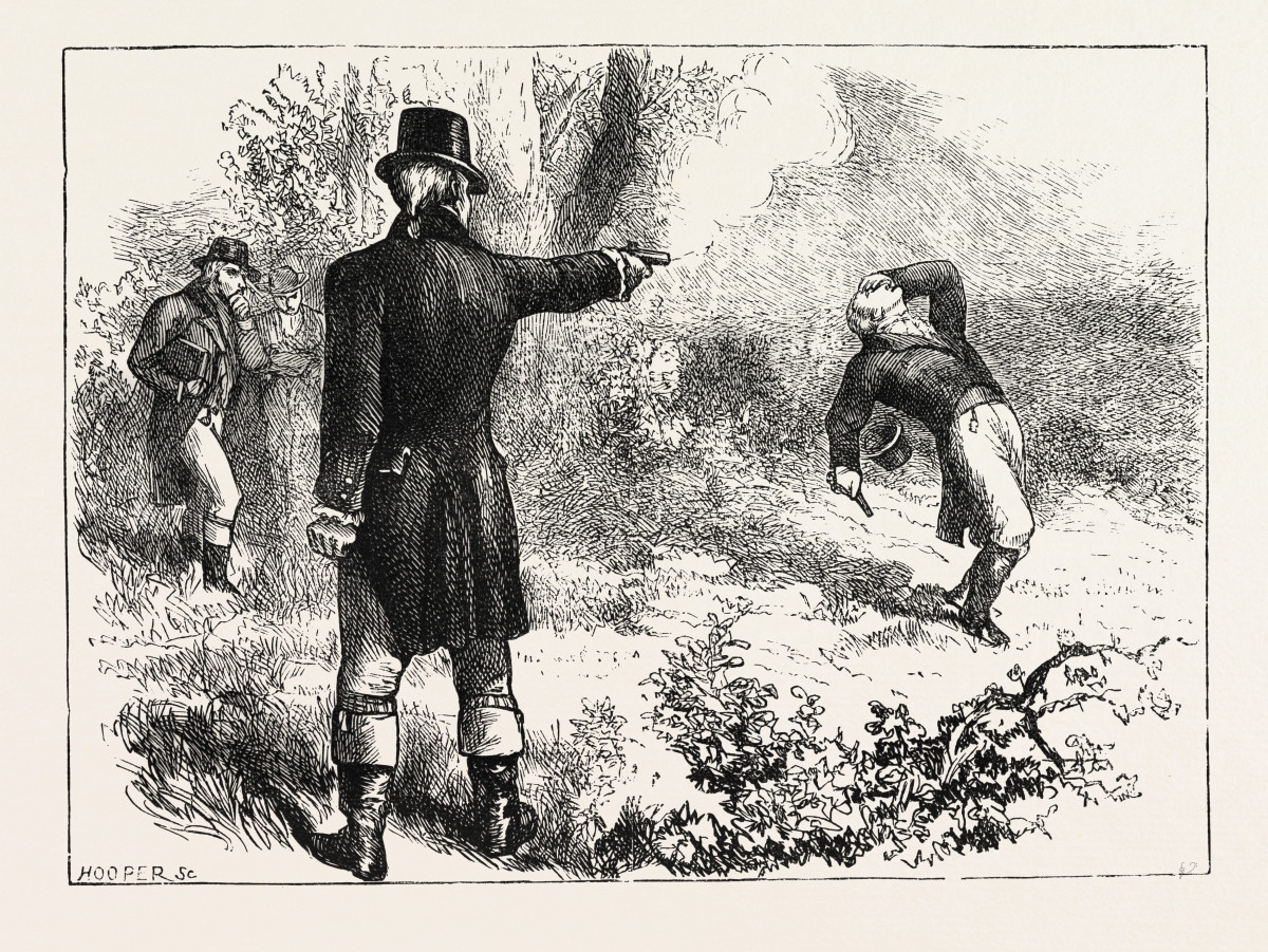 Duel Between Burr And Hamilton, 1870s Engraving