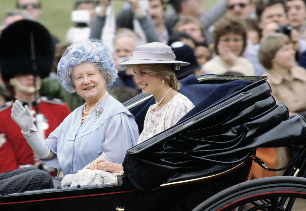 Diana Princess Of Wales With The Queen Mother Taking Part In The Trooping The Colour Procession, 1983
