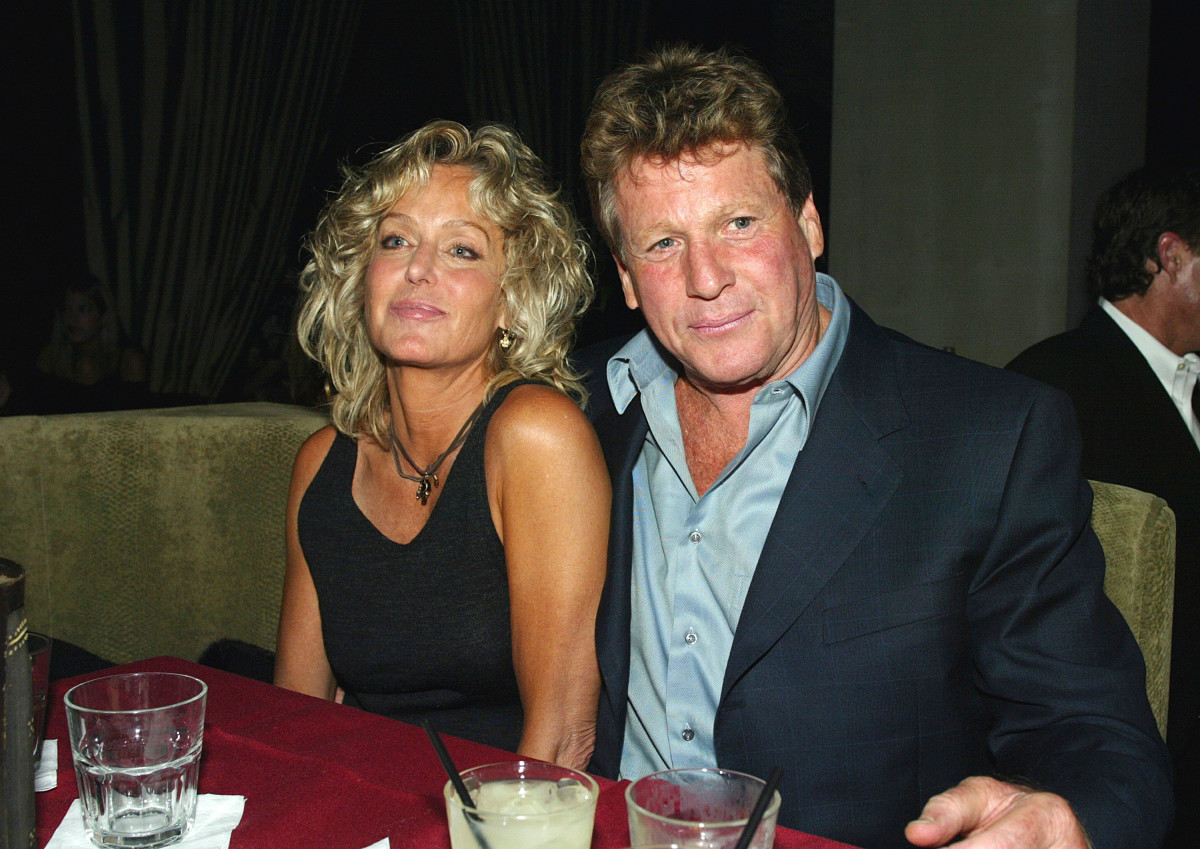 "Farrah Fawcett and Ryan O'Neal at the after party for ""Malibu's Most Wanted"" on April 10, 2003, in Los Angeles, California"