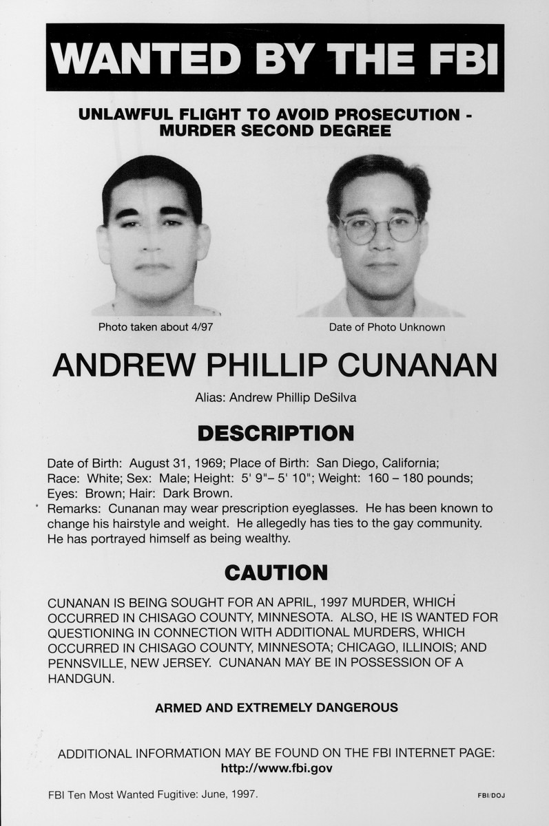 FBI wanted poster of Andrew Cunanan