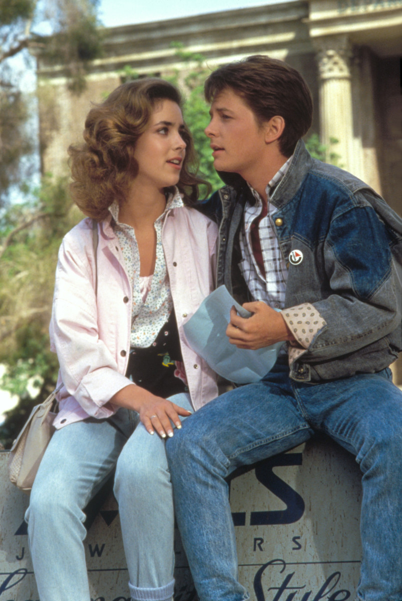 """Claudia Wells and Michael J. Fox on the set of """"Back to the Future"""""""
