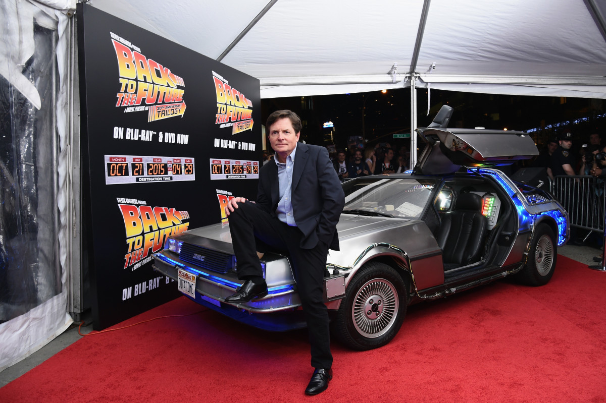 """Michael J. Fox attends the """"Back to the Future"""" reunion in celebration of the """"Back to the Future"""" 30th Anniversary Trilogy on Blu-ray and DVD on October 21, 2015, at AMC Loews Lincoln Square 13 in New York City"""