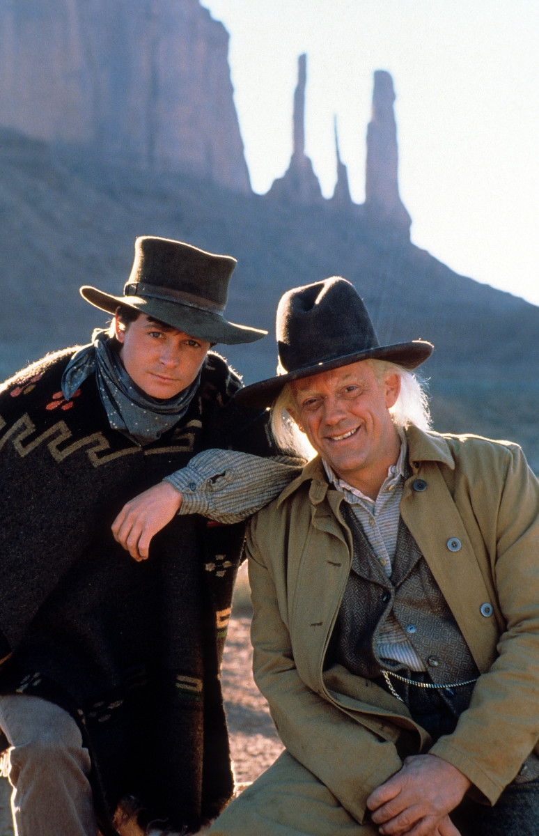 """Michael J. Fox and Christopher Lloyd in a scene from the film """"Back to the Future Part III"""""""