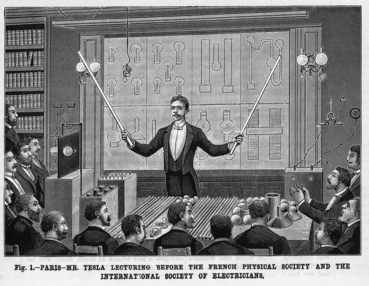 A drawing of Nikola Tesla lecturing before the French Physical Society and the International Society of Electricians