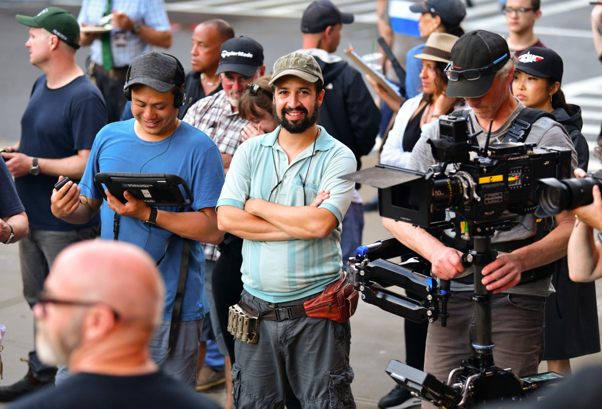 """Lin-Manuel Miranda on location for """"In the Heights"""" in Washington Heights on June 20, 2019, in New York City"""