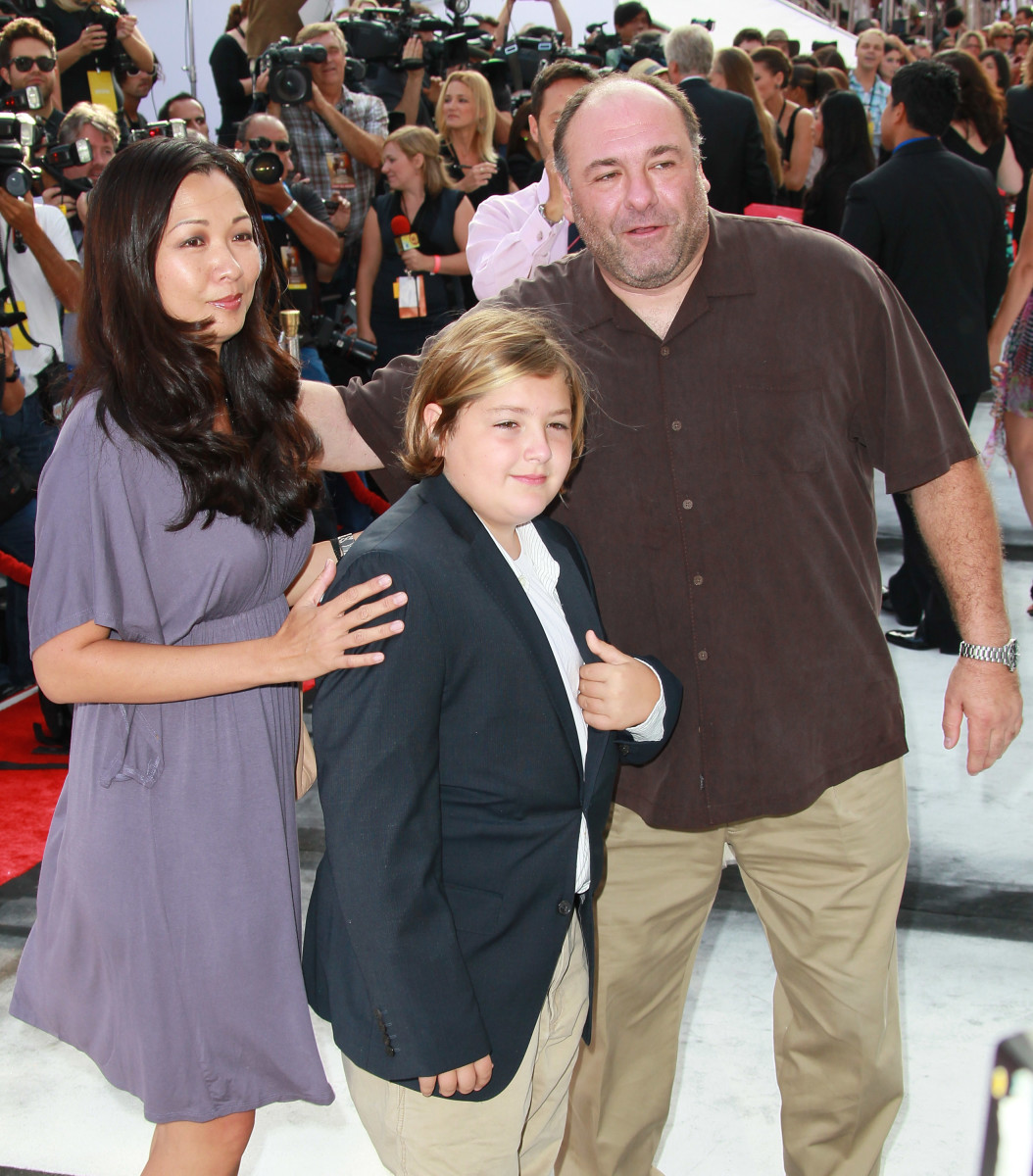 """James Gandolfini with his wife Deborah Lin and son, Michael, at the premiere of """"IRIS - A Journey Through the World of Cinema"""" on September 25, 2011, in Hollywood, California"""
