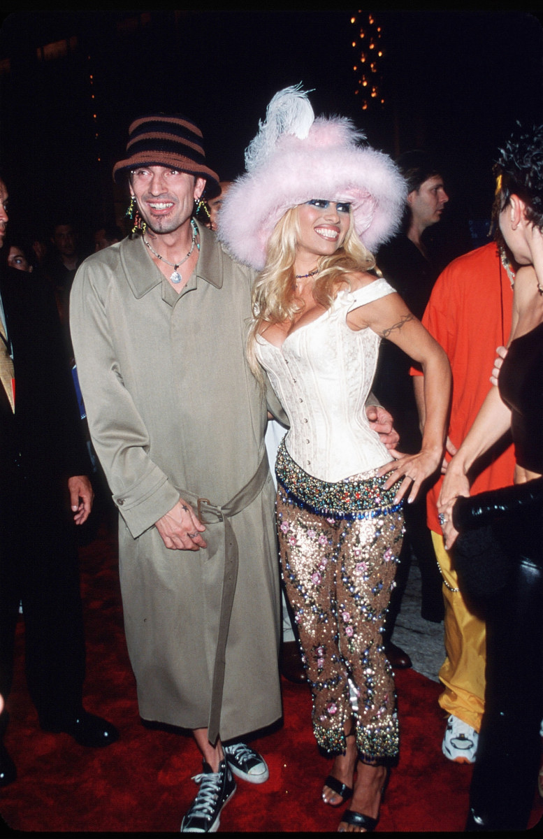 Tommy Lee and Pamela Anderson at the MTV Video Music Awards on September 9, 1999, in New York City